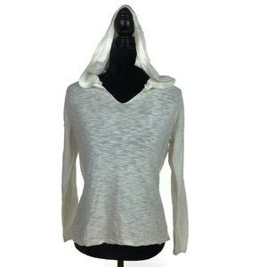Anthropologie Moth Hooded White Knit Sweater